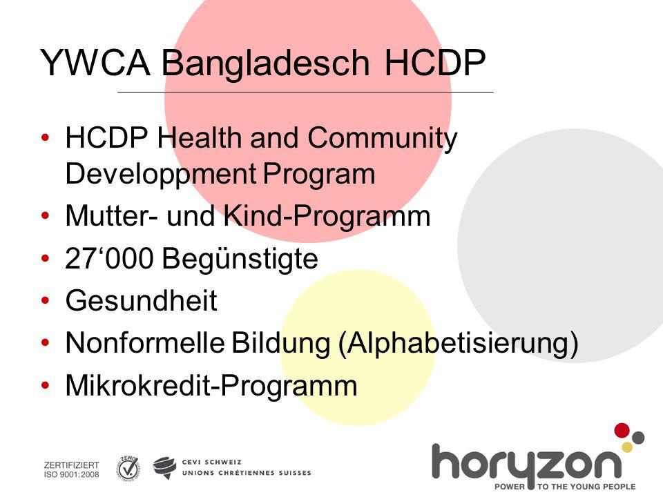 YWCA Bangladesch HCDP HCDP Health and Community Developpment Program Mutter- und Kind-Programm 27'000 Begünstigte Gesundheit Nonformelle Bildung (Alph