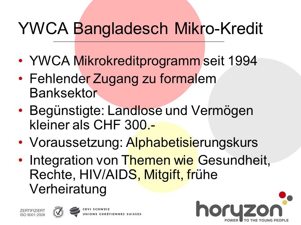 YWCA Bangladesch Mikro-Kredit YWCA Mikrokreditprogramm seit 1994 Fehlender Zugang zu formalem Banksektor Begünstigte: Landlose und Vermögen kleiner als CHF 300.- Voraussetzung: Alphabetisierungskurs Integration von Themen wie Gesundheit, Rechte, HIV/AIDS, Mitgift, frühe Verheiratung