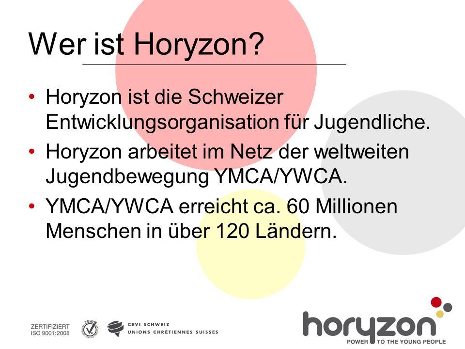 Wer ist Horyzon. Horyzon ist die Schweizer Entwicklungsorganisation für Jugendliche.