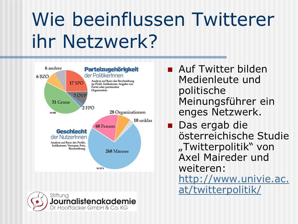 Wie beeinflussen Twitterer ihr Netzwerk.