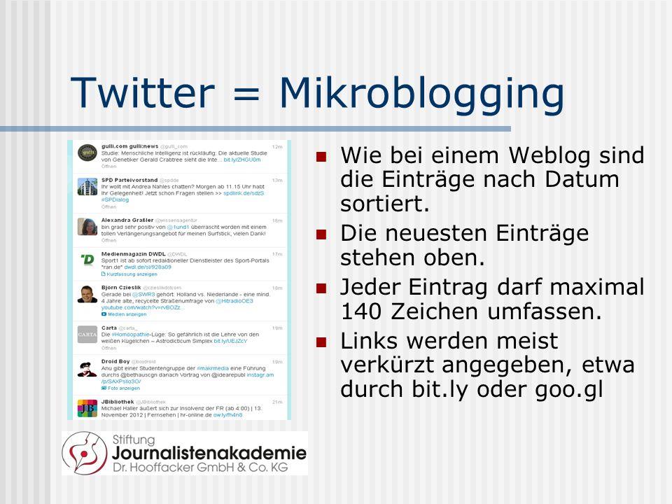 Twitter = Mikroblogging Wie bei einem Weblog sind die Einträge nach Datum sortiert.