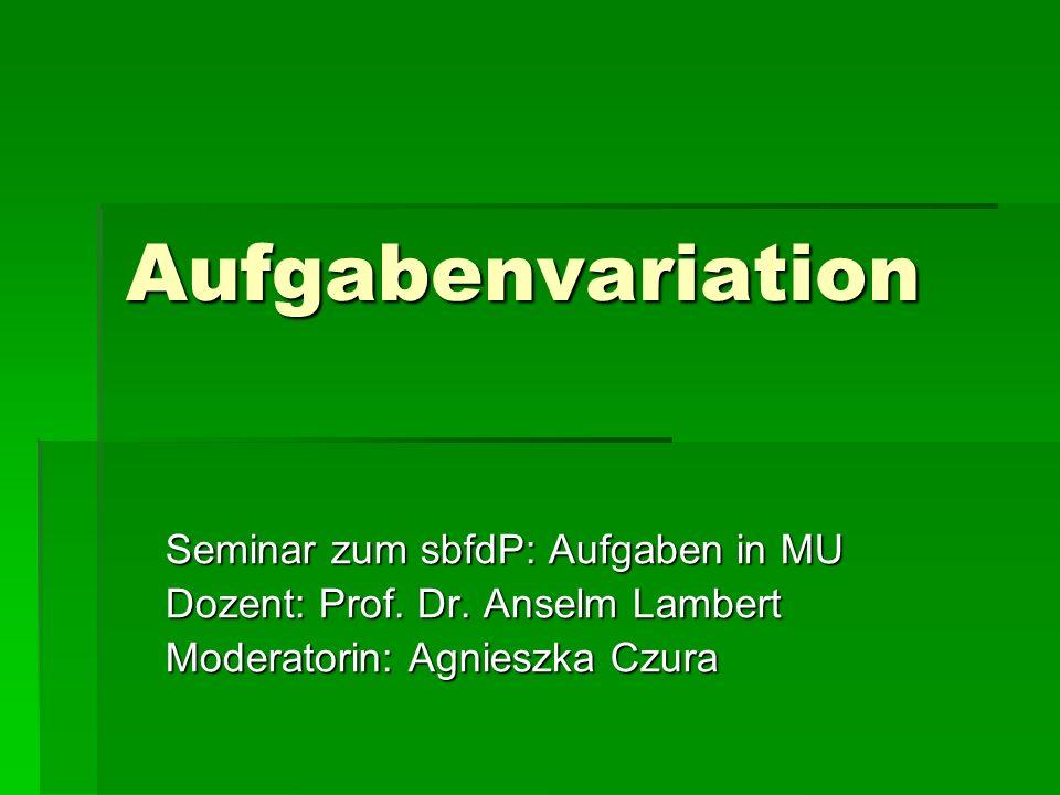Aufgabenvariation Seminar zum sbfdP: Aufgaben in MU Dozent: Prof.