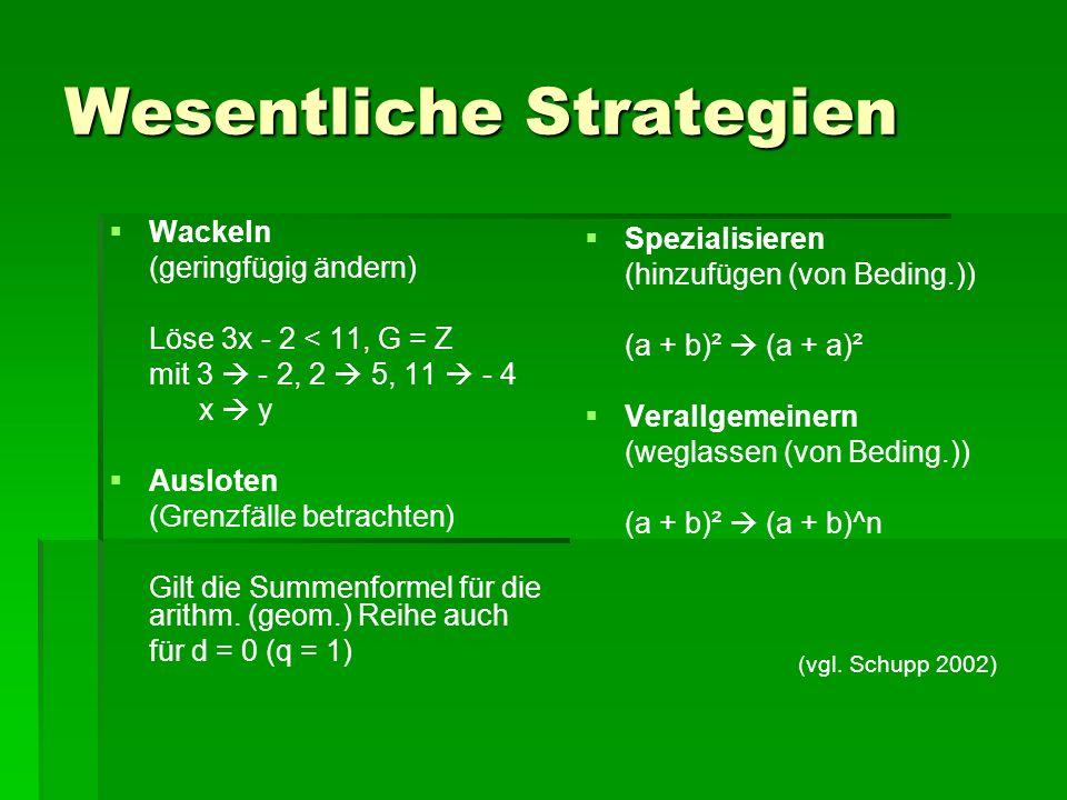 Wesentliche Strategien   Wackeln (geringfügig ändern) Löse 3x - 2 < 11, G = Z mit 3  - 2, 2  5, 11  - 4 x  y   Ausloten (Grenzfälle betrachten) Gilt die Summenformel für die arithm.