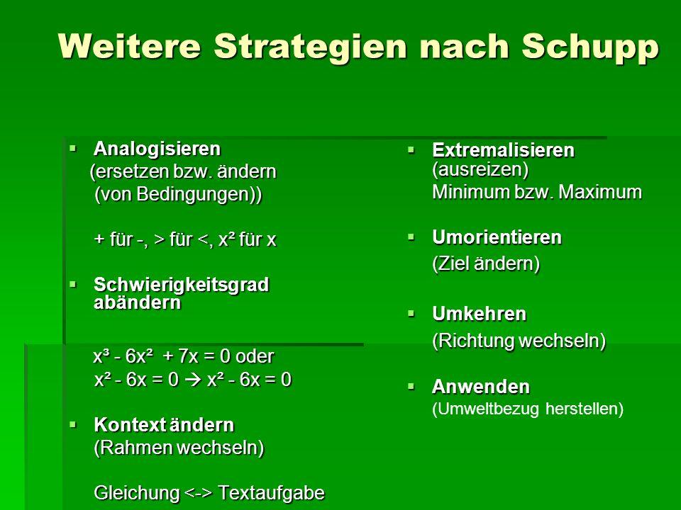 Weitere Strategien nach Schupp  Analogisieren (ersetzen bzw.