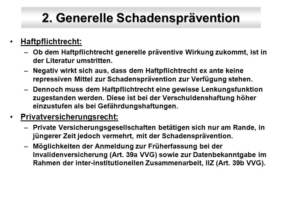 2. Generelle Schadensprävention Haftpflichtrecht: –Ob dem Haftpflichtrecht generelle präventive Wirkung zukommt, ist in der Literatur umstritten. –Neg