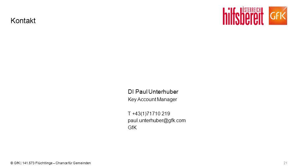 21© GfK | 141.573 Flüchtlinge – Chance für Gemeinden Kontakt T +43(1)71710 219 Key Account Manager DI Paul Unterhuber paul.unterhuber@gfk.com GfK