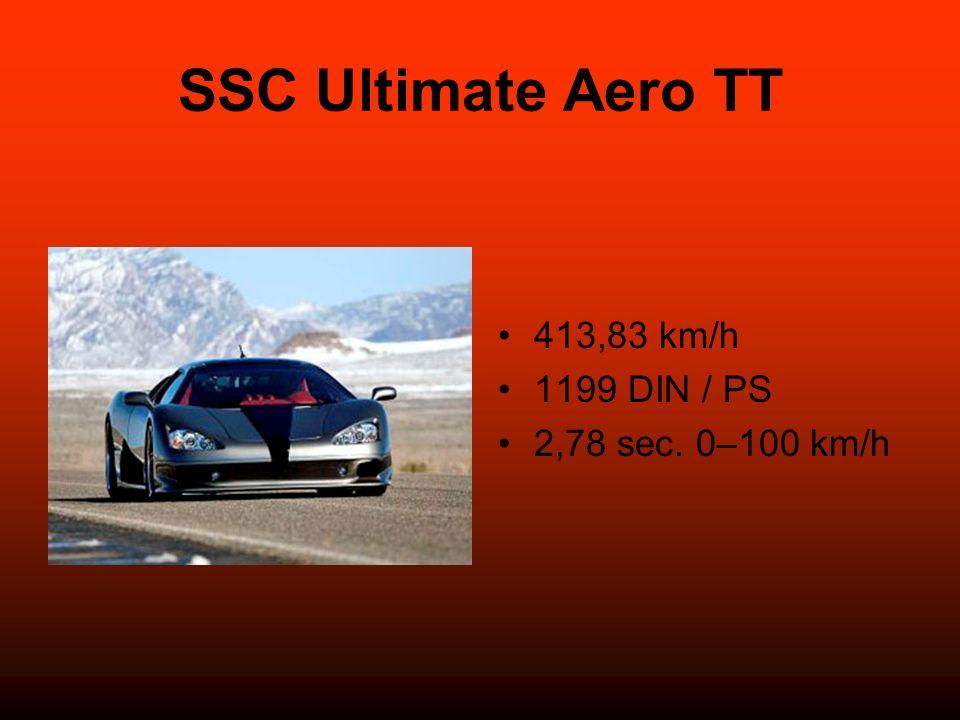 SSC Ultimate Aero TT 413,83 km/h 1199 DIN / PS 2,78 sec. 0–100 km/h
