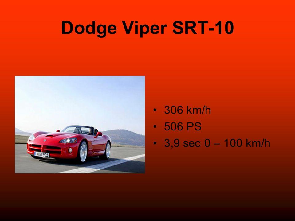 Dodge Viper SRT-10 306 km/h 506 PS 3,9 sec 0 – 100 km/h