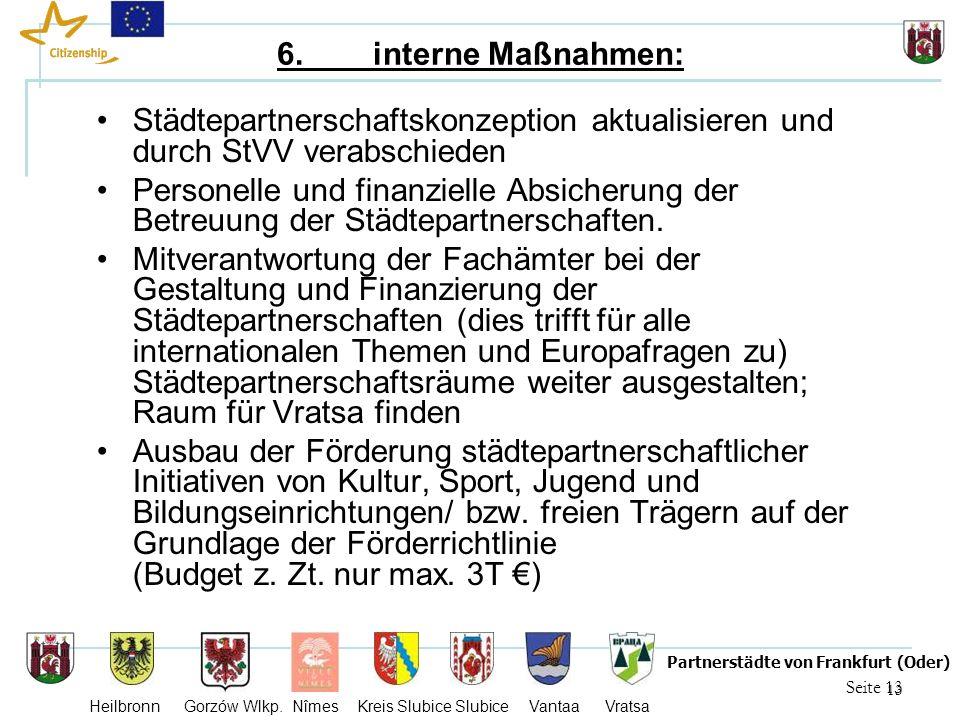 13 Seite 13 Partnerstädte von Frankfurt (Oder) Heilbronn Gorzów Wlkp. Nîmes Kreis Slubice Slubice Vantaa Vratsa 6. interne Maßnahmen: Städtepartnersch