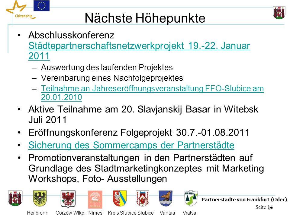 14 Seite 14 Partnerstädte von Frankfurt (Oder) Heilbronn Gorzów Wlkp. Nîmes Kreis Slubice Slubice Vantaa Vratsa Nächste Höhepunkte Abschlusskonferenz