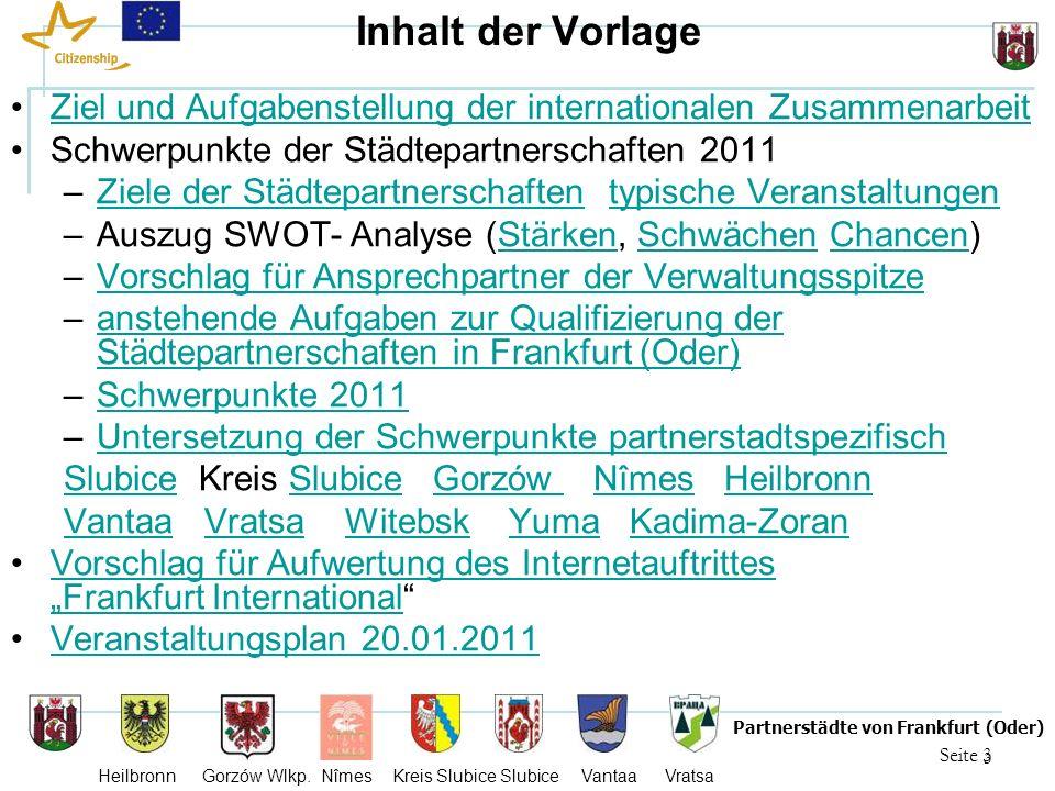 3 Seite 3 Partnerstädte von Frankfurt (Oder) Heilbronn Gorzów Wlkp. Nîmes Kreis Slubice Slubice Vantaa Vratsa Inhalt der Vorlage Ziel und Aufgabenstel