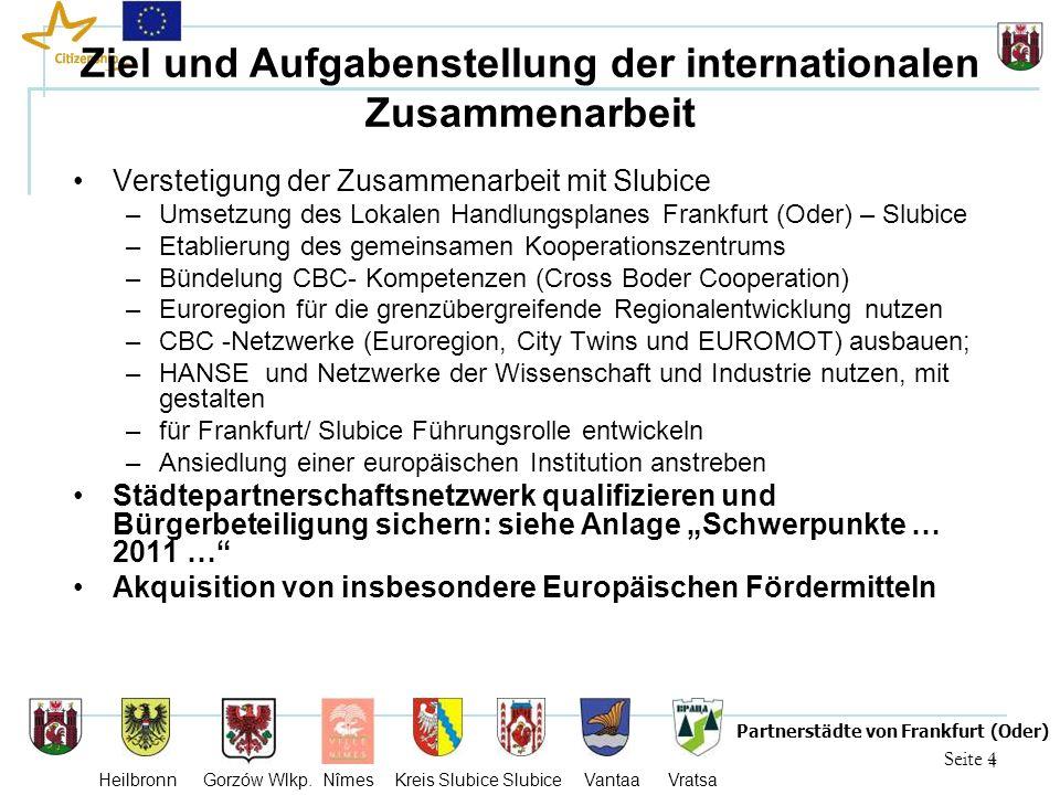4 Seite 4 Partnerstädte von Frankfurt (Oder) Heilbronn Gorzów Wlkp. Nîmes Kreis Slubice Slubice Vantaa Vratsa Ziel und Aufgabenstellung der internatio