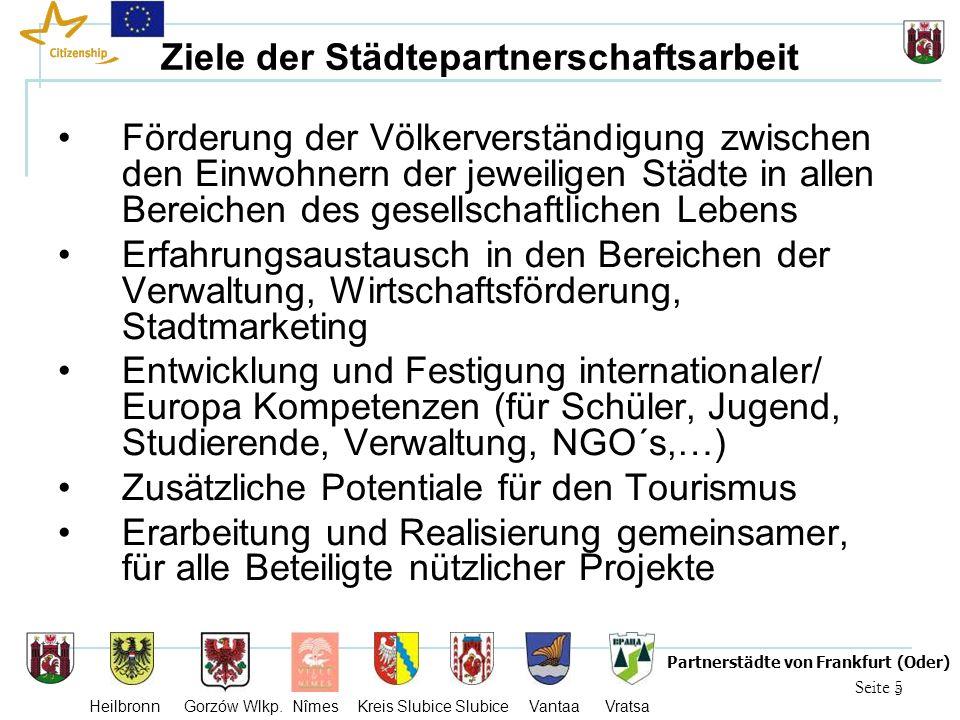 5 Seite 5 Partnerstädte von Frankfurt (Oder) Heilbronn Gorzów Wlkp. Nîmes Kreis Slubice Slubice Vantaa Vratsa Ziele der Städtepartnerschaftsarbeit För