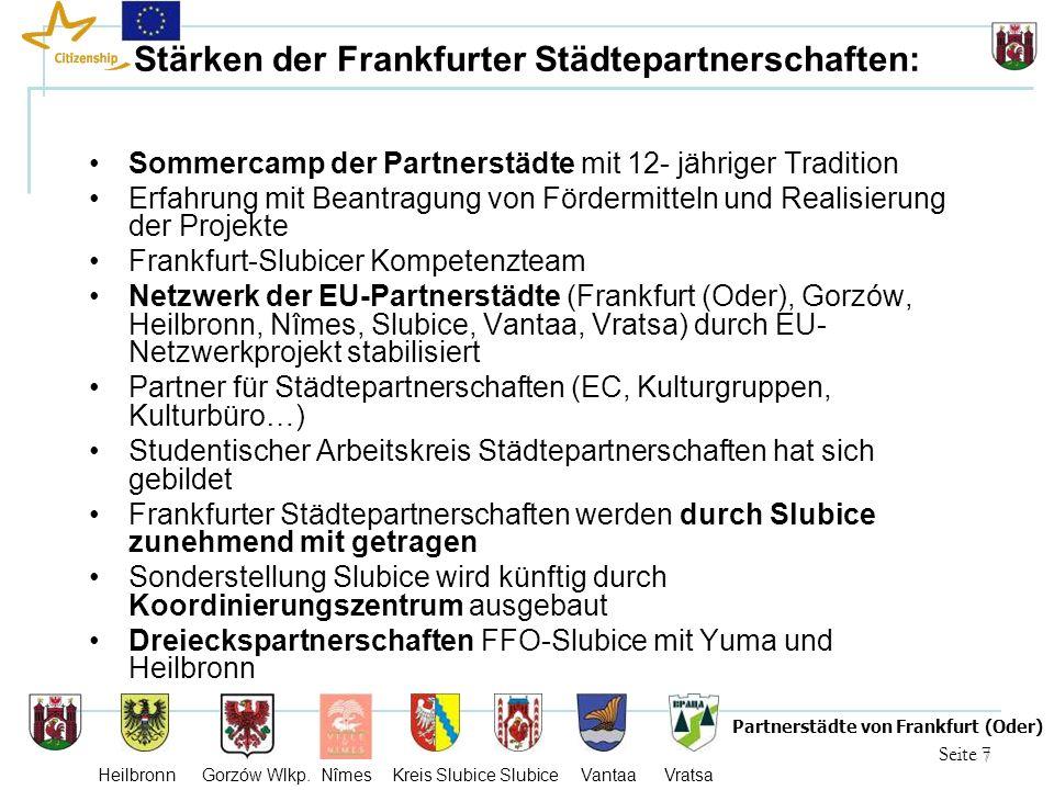 7 Seite 7 Partnerstädte von Frankfurt (Oder) Heilbronn Gorzów Wlkp. Nîmes Kreis Slubice Slubice Vantaa Vratsa Stärken der Frankfurter Städtepartnersch