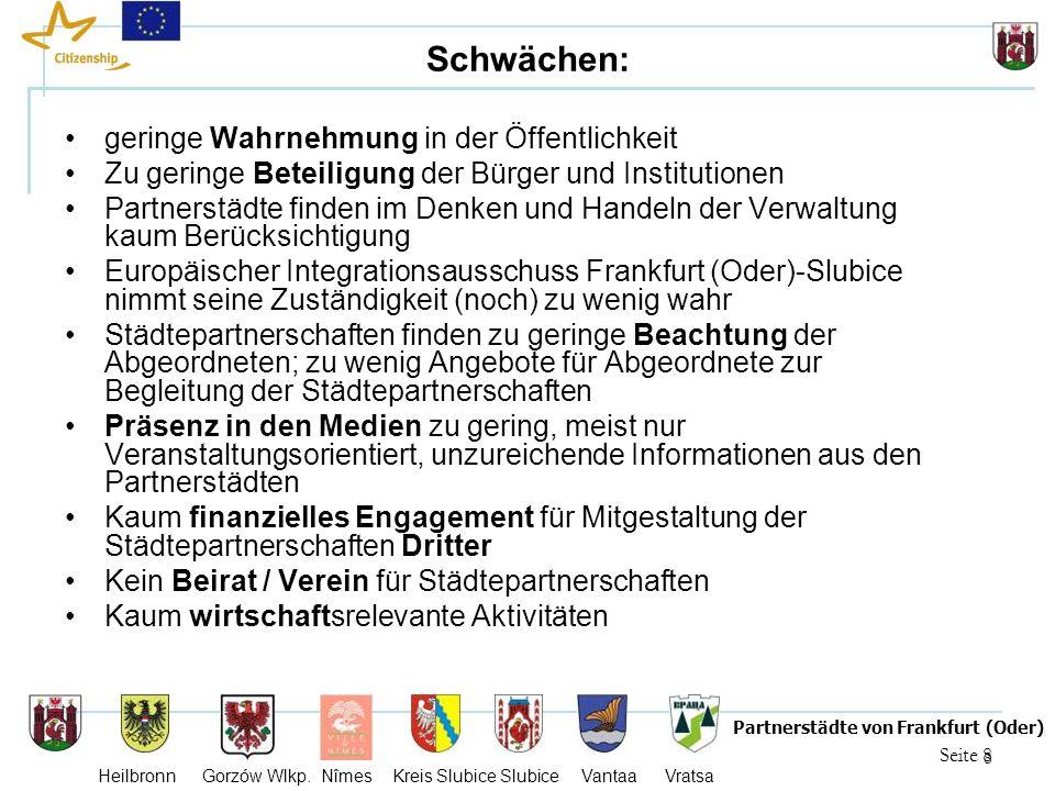 8 Seite 8 Partnerstädte von Frankfurt (Oder) Heilbronn Gorzów Wlkp. Nîmes Kreis Slubice Slubice Vantaa Vratsa Schwächen: geringe Wahrnehmung in der Öf