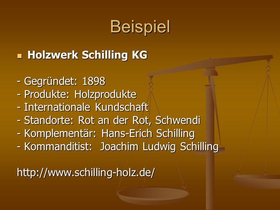 Beispiel Holzwerk Schilling KG Holzwerk Schilling KG - Gegründet: 1898 - Produkte: Holzprodukte - Internationale Kundschaft - Standorte: Rot an der Ro