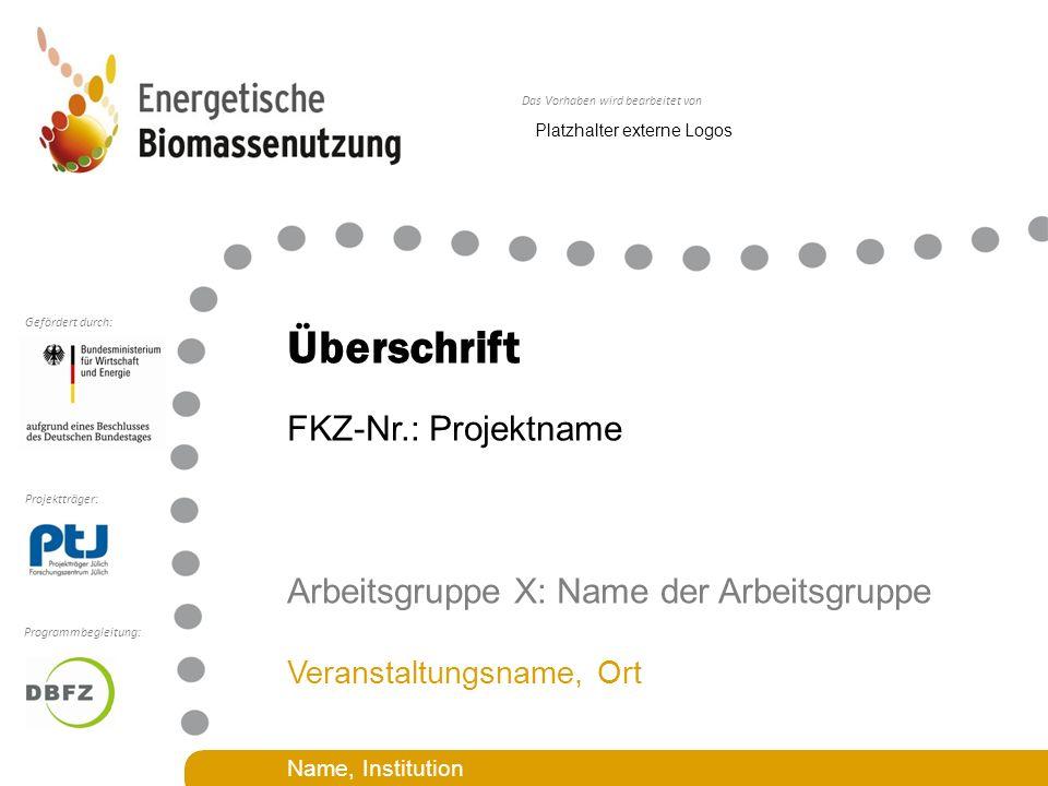Das Vorhaben wird bearbeitet von Projektträger: Gefördert durch: Programmbegleitung: Überschrift FKZ-Nr.: Projektname Arbeitsgruppe X: Name der Arbeit