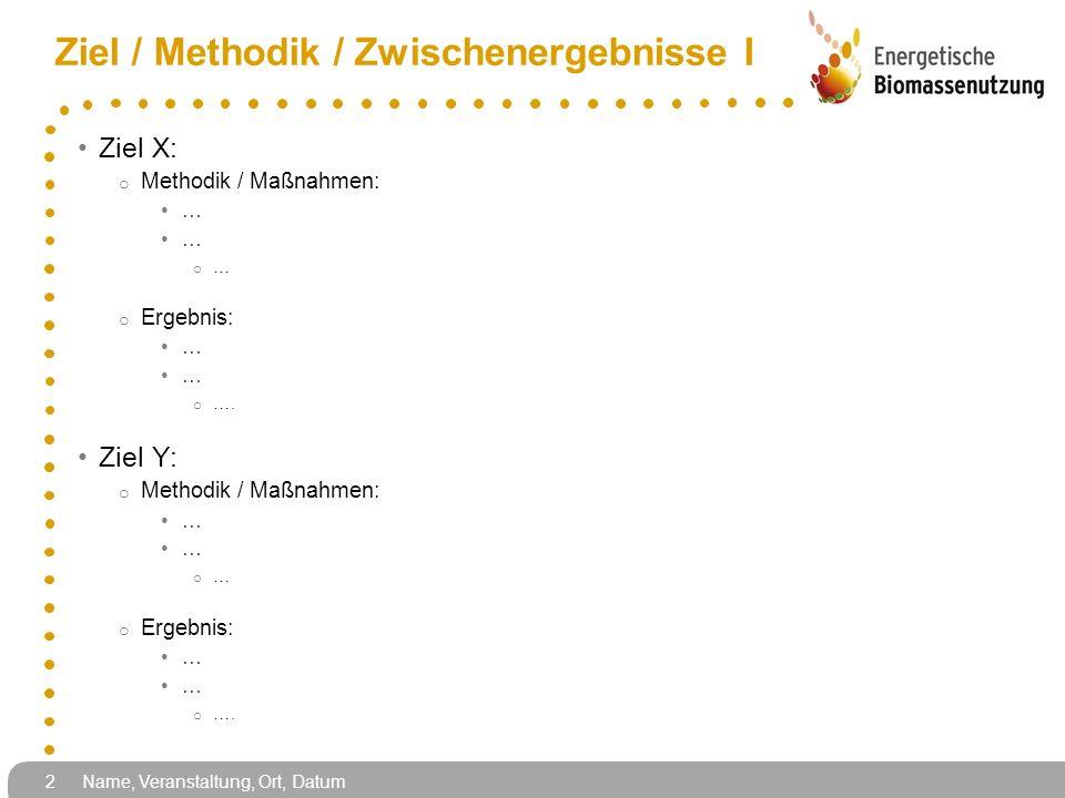 Ziel / Methodik / Zwischenergebnisse I Ziel X: o Methodik / Maßnahmen: … o … o Ergebnis: … o …. Ziel Y: o Methodik / Maßnahmen: … o … o Ergebnis: … o