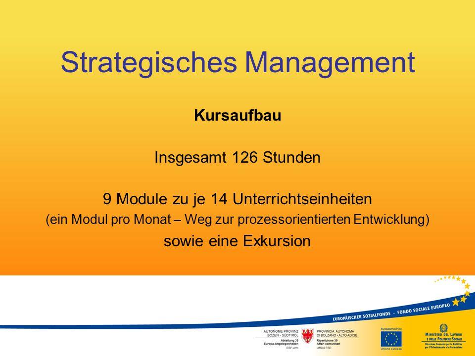 Strategisches Management Kursaufbau Insgesamt 126 Stunden 9 Module zu je 14 Unterrichtseinheiten (ein Modul pro Monat – Weg zur prozessorientierten En