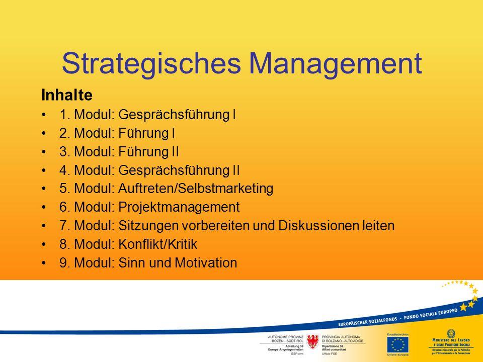 Strategisches Management Inhalte 1. Modul: Gesprächsführung I 2. Modul: Führung I 3. Modul: Führung II 4. Modul: Gesprächsführung II 5. Modul: Auftret