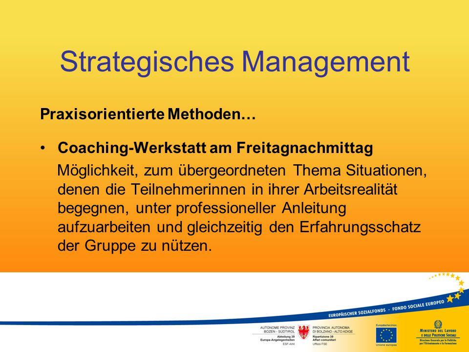 Strategisches Management Praxisorientierte Methoden… Coaching-Werkstatt am Freitagnachmittag Möglichkeit, zum übergeordneten Thema Situationen, denen