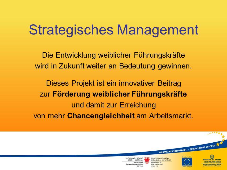 Strategisches Management Die Entwicklung weiblicher Führungskräfte wird in Zukunft weiter an Bedeutung gewinnen. Dieses Projekt ist ein innovativer Be