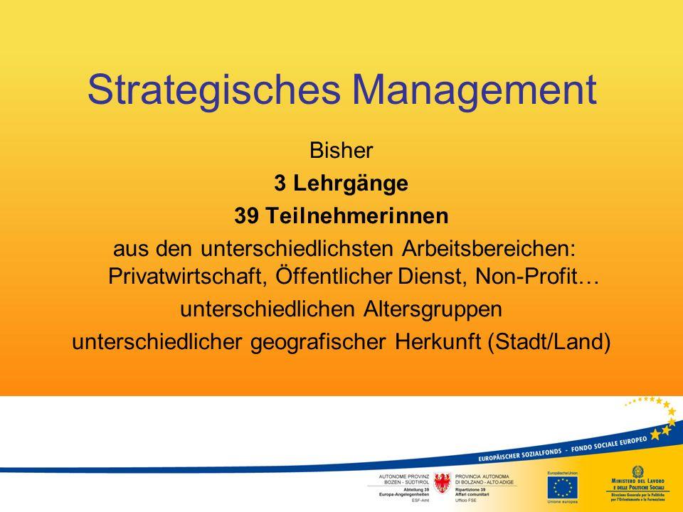 Strategisches Management Bisher 3 Lehrgänge 39 Teilnehmerinnen aus den unterschiedlichsten Arbeitsbereichen: Privatwirtschaft, Öffentlicher Dienst, No