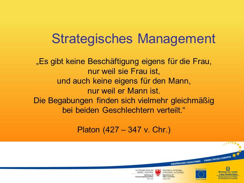 """Strategisches Management """"Es gibt keine Beschäftigung eigens für die Frau, nur weil sie Frau ist, und auch keine eigens für den Mann, nur weil er Mann"""