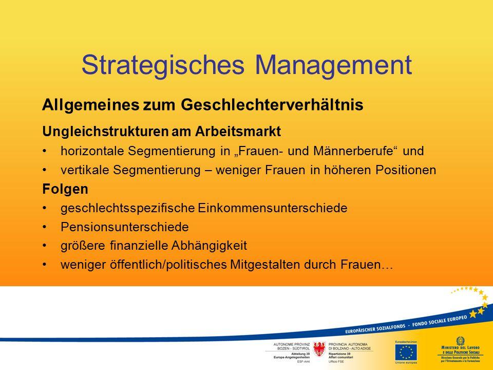 """Strategisches Management Allgemeines zum Geschlechterverhältnis Ungleichstrukturen am Arbeitsmarkt horizontale Segmentierung in """"Frauen- und Männerber"""