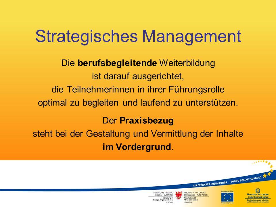 Strategisches Management Zentrales Anliegen des Lehrgangs ist es, die sozialen und persönlichen Kompetenzen zu stärken und den Erfahrungsschatz der Teilnehmerinnen zu nützen, damit die Frauen an Sicherheit und Selbstbewusstsein gewinnen.
