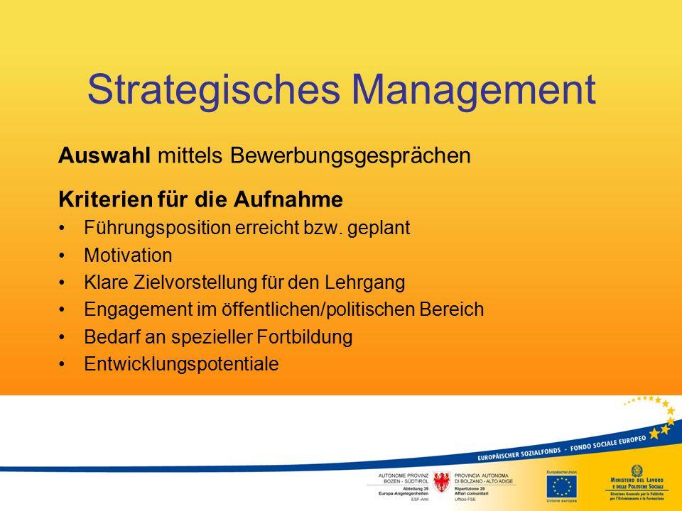 Strategisches Management Kursaufbau Insgesamt 126 Stunden 9 Module zu je 14 Unterrichtseinheiten (ein Modul pro Monat – Weg zur prozessorientierten Entwicklung) sowie eine Exkursion