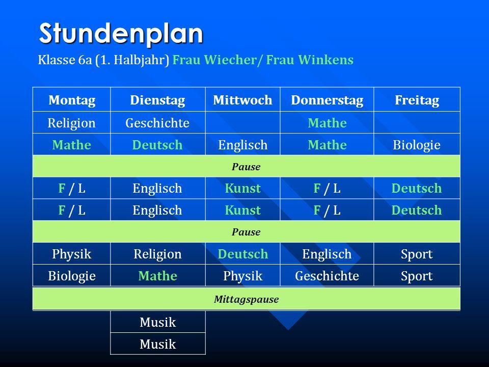 Stundenplan Klasse 6a (1. Halbjahr) Frau Wiecher/ Frau Winkens MontagDienstagMittwochDonnerstagFreitag ReligionGeschichteMathe DeutschEnglischMatheBio