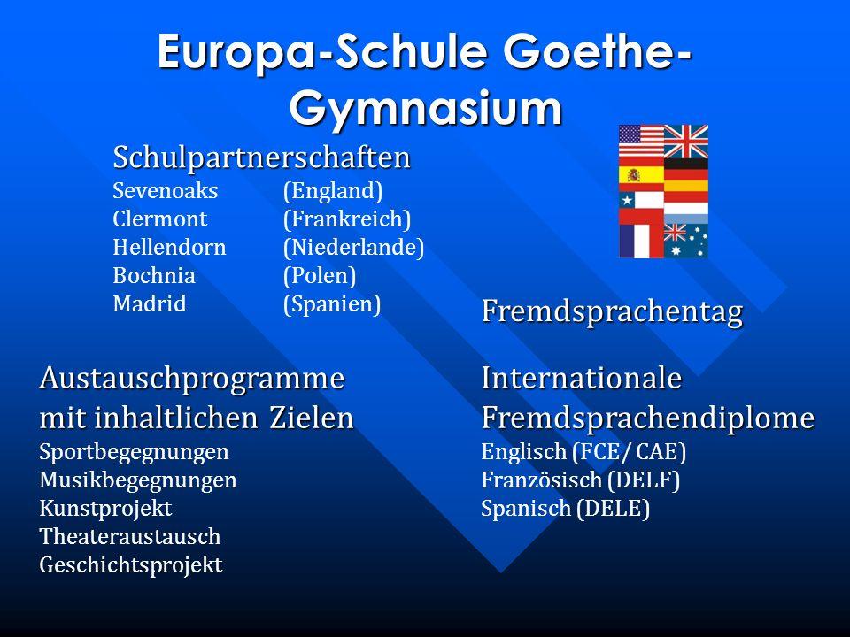 Schulpartnerschaften Sevenoaks(England) Clermont(Frankreich) Hellendorn(Niederlande) Bochnia(Polen) Madrid(Spanien) Europa-Schule Goethe- Gymnasium Au