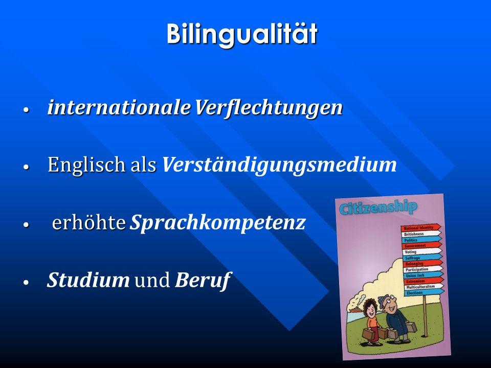 Bilingualität internationale Verflechtungen internationale Verflechtungen Englisch als Englisch als Verständigungsmedium erhöhte erhöhte Sprachkompete