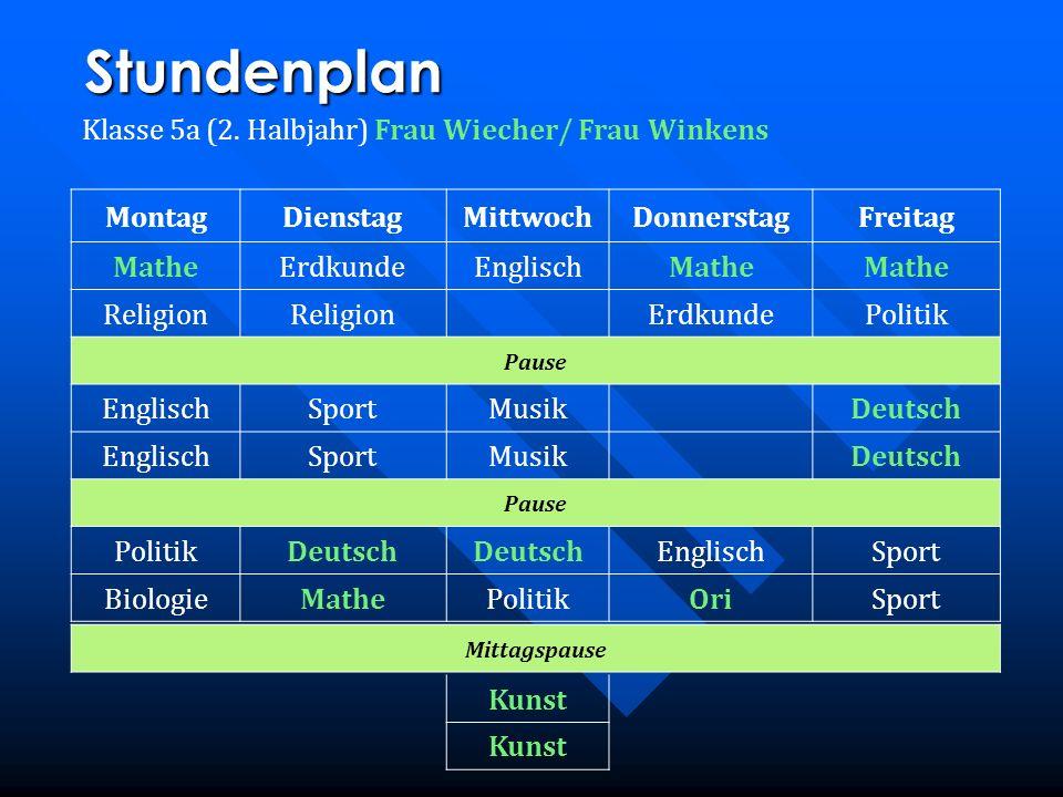 Stundenplan Klasse 5a (2. Halbjahr) Frau Wiecher/ Frau Winkens MontagDienstagMittwochDonnerstagFreitag MatheErdkundeEnglischMathe Religion ErdkundePol