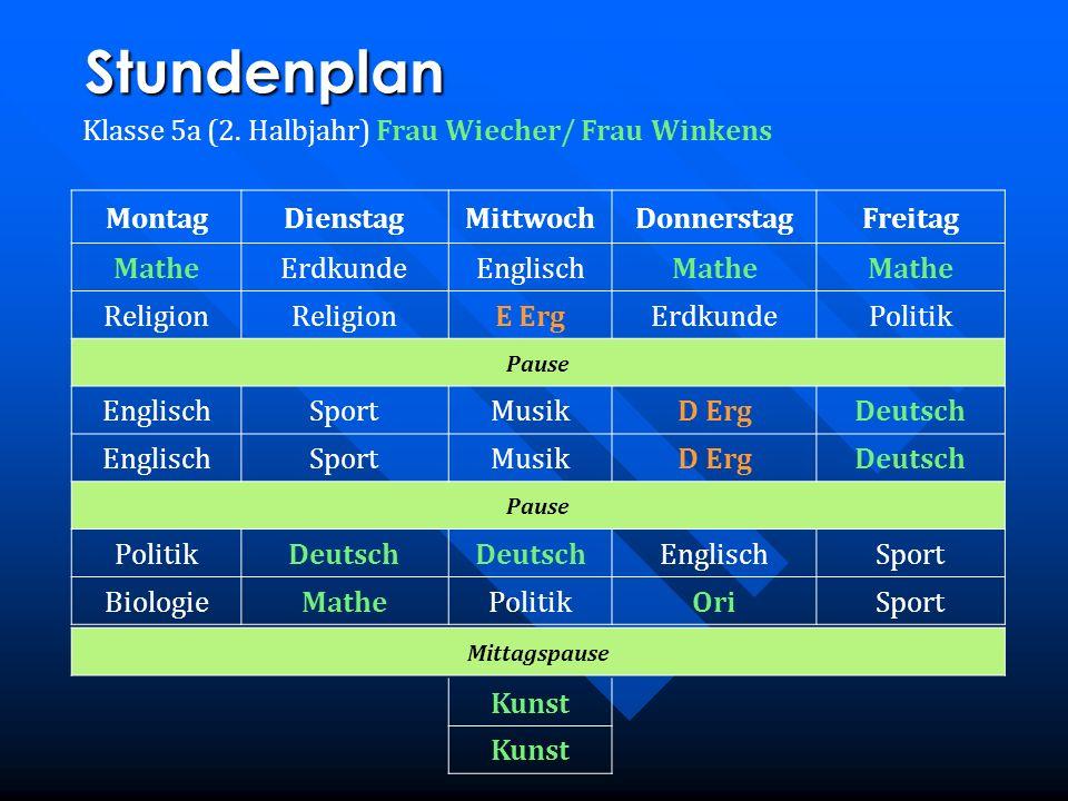 Stundenplan Klasse 5a (2. Halbjahr) Frau Wiecher/ Frau Winkens MontagDienstagMittwochDonnerstagFreitag MatheErdkundeEnglischMathe Religion E ErgErdkun