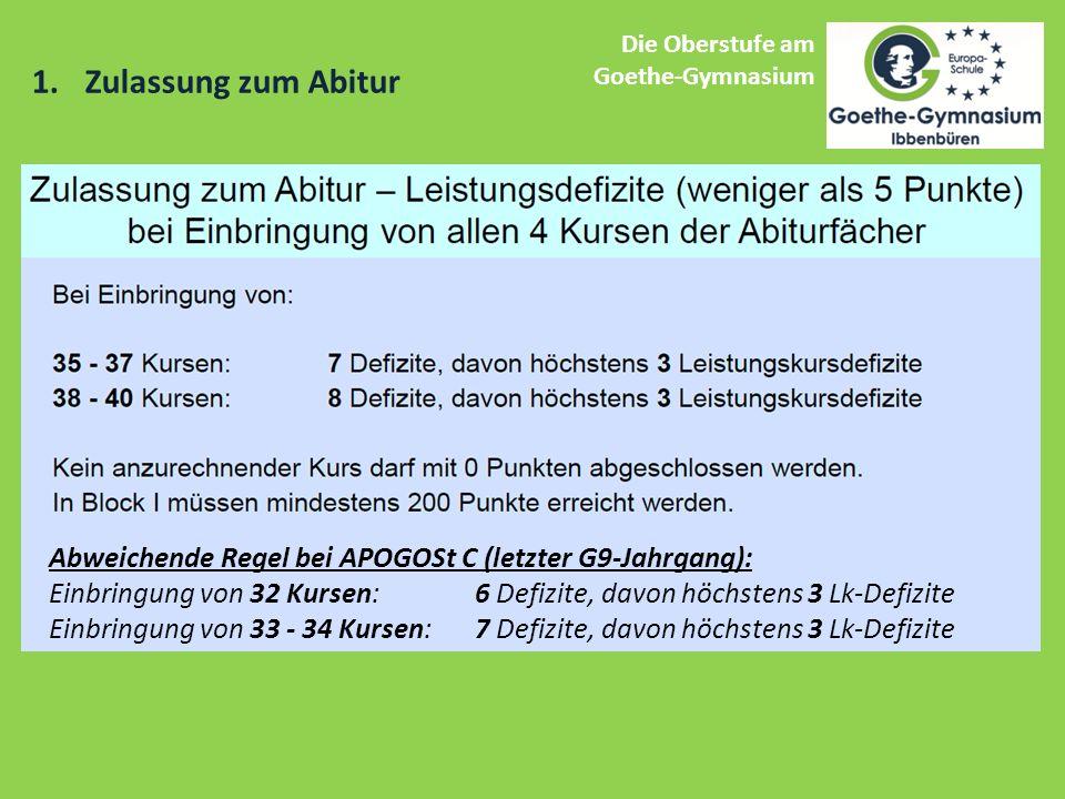 1.Zulassung zum Abitur Die Oberstufe am Goethe-Gymnasium Abweichende Regel bei APOGOSt C (letzter G9-Jahrgang): Einbringung von 32 Kursen: 6 Defizite, davon höchstens 3 Lk-Defizite Einbringung von 33 - 34 Kursen: 7 Defizite, davon höchstens 3 Lk-Defizite