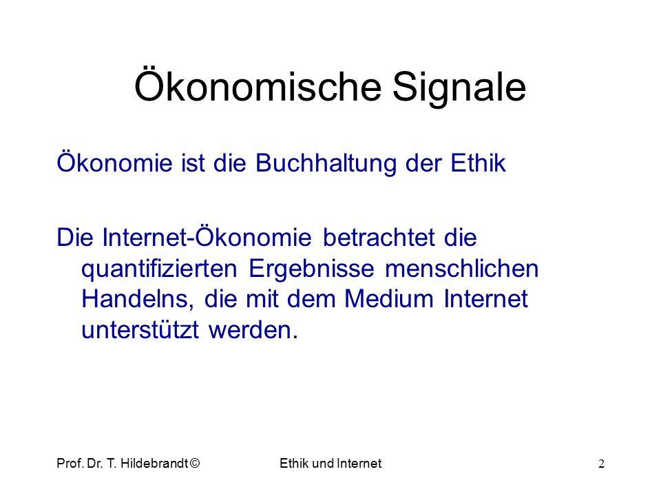 Ökonomische Signale Ökonomie ist die Buchhaltung der Ethik Die Internet-Ökonomie betrachtet die quantifizierten Ergebnisse menschlichen Handelns, die mit dem Medium Internet unterstützt werden.