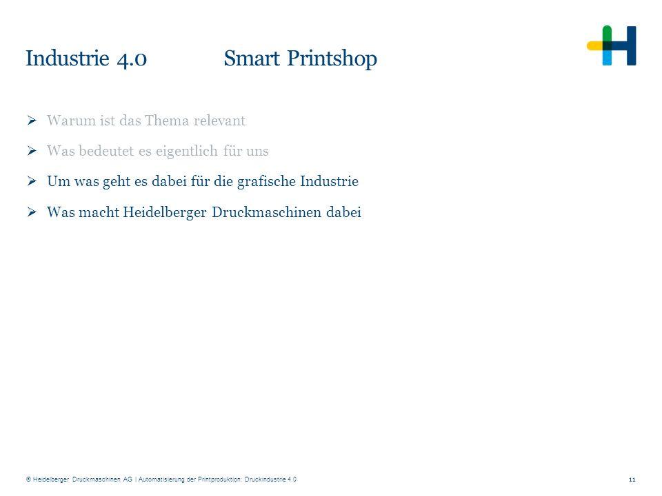 © Heidelberger Druckmaschinen AG Industrie 4.0 Smart Printshop 11  Warum ist das Thema relevant  Was bedeutet es eigentlich für uns  Um was geht es
