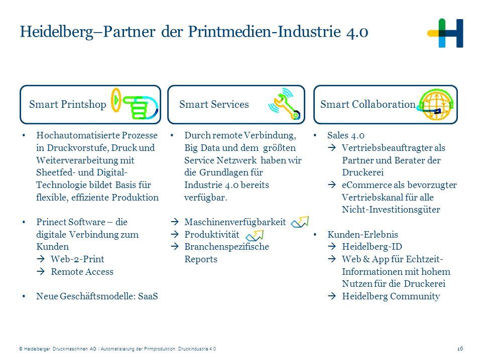 © Heidelberger Druckmaschinen AG Heidelberg–Partner der Printmedien-Industrie 4.0 Hochautomatisierte Prozesse in Druckvorstufe, Druck und Weiterverarb