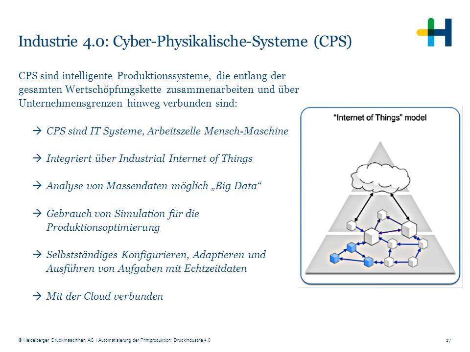 © Heidelberger Druckmaschinen AG Industrie 4.0: Cyber-Physikalische-Systeme (CPS) 17 CPS sind intelligente Produktionssysteme, die entlang der gesamte