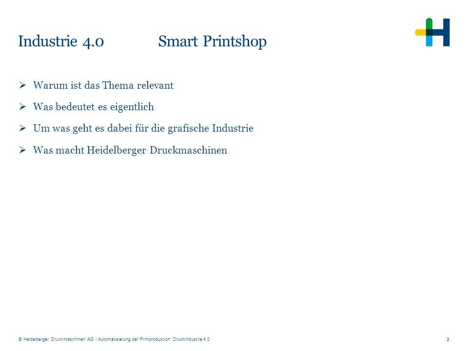 © Heidelberger Druckmaschinen AG Industrie 4.0 Smart Printshop 2  Warum ist das Thema relevant  Was bedeutet es eigentlich  Um was geht es dabei fü