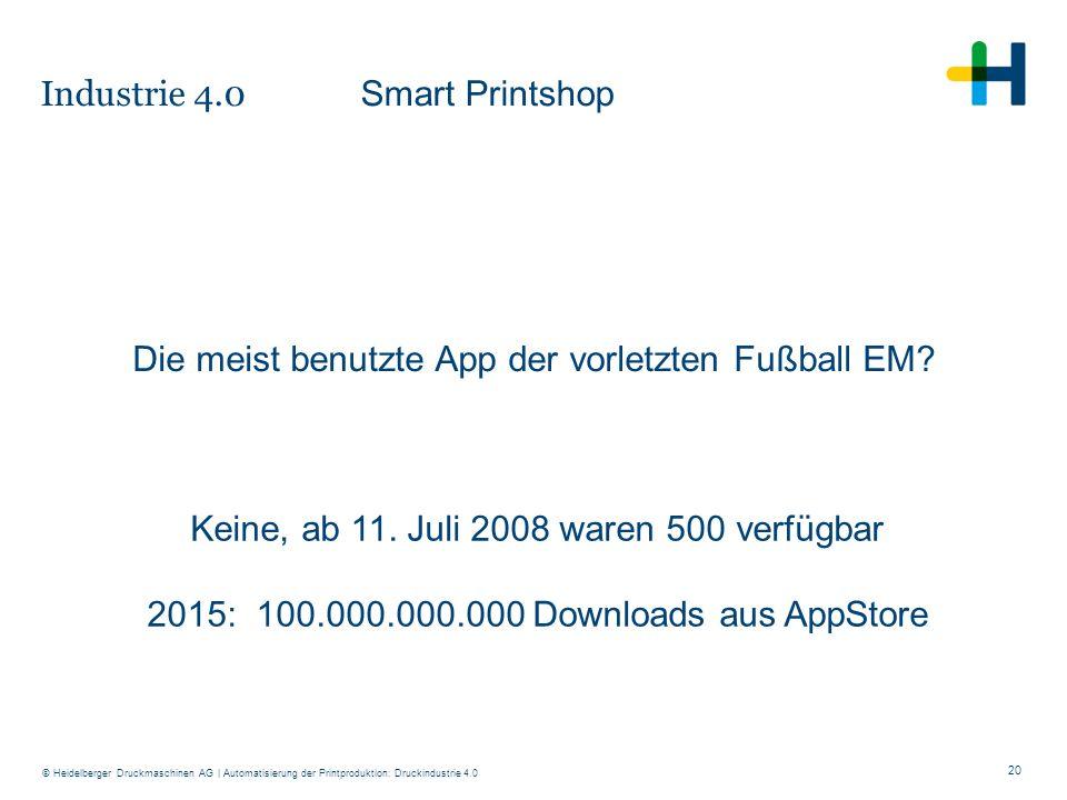 20 © Heidelberger Druckmaschinen AG Keine, ab 11. Juli 2008 waren 500 verfügbar 2015: 100.000.000.000 Downloads aus AppStore Die meist benutzte App de