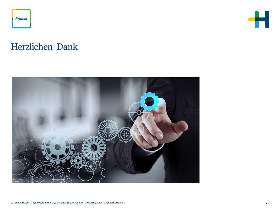 © Heidelberger Druckmaschinen AG Herzlichen Dank 21 | Automatisierung der Printproduktion: Druckindustrie 4.0