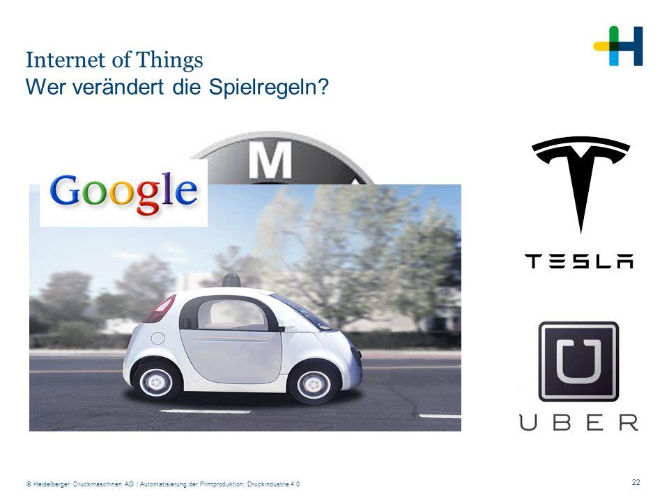 22 © Heidelberger Druckmaschinen AG Internet of Things Wer verändert die Spielregeln? | Automatisierung der Printproduktion: Druckindustrie 4.0