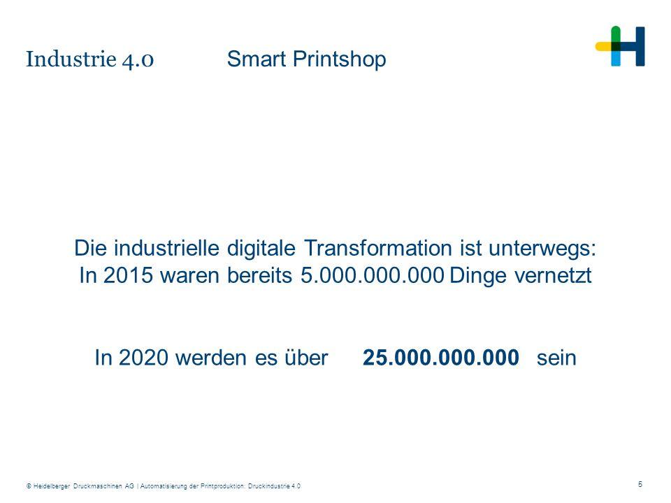 5 © Heidelberger Druckmaschinen AG Die industrielle digitale Transformation ist unterwegs: In 2015 waren bereits 5.000.000.000 Dinge vernetzt In 2020