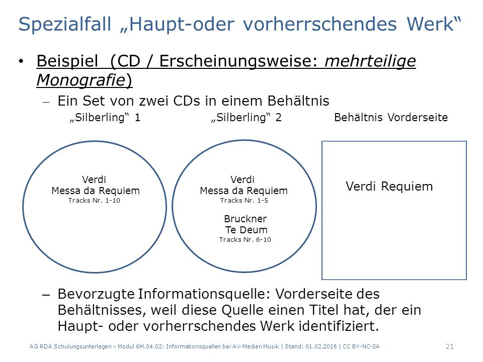 """Spezialfall """"Haupt-oder vorherrschendes Werk"""" Beispiel (CD / Erscheinungsweise: mehrteilige Monografie) Ein Set von zwei CDs in einem Behältnis """"Silb"""