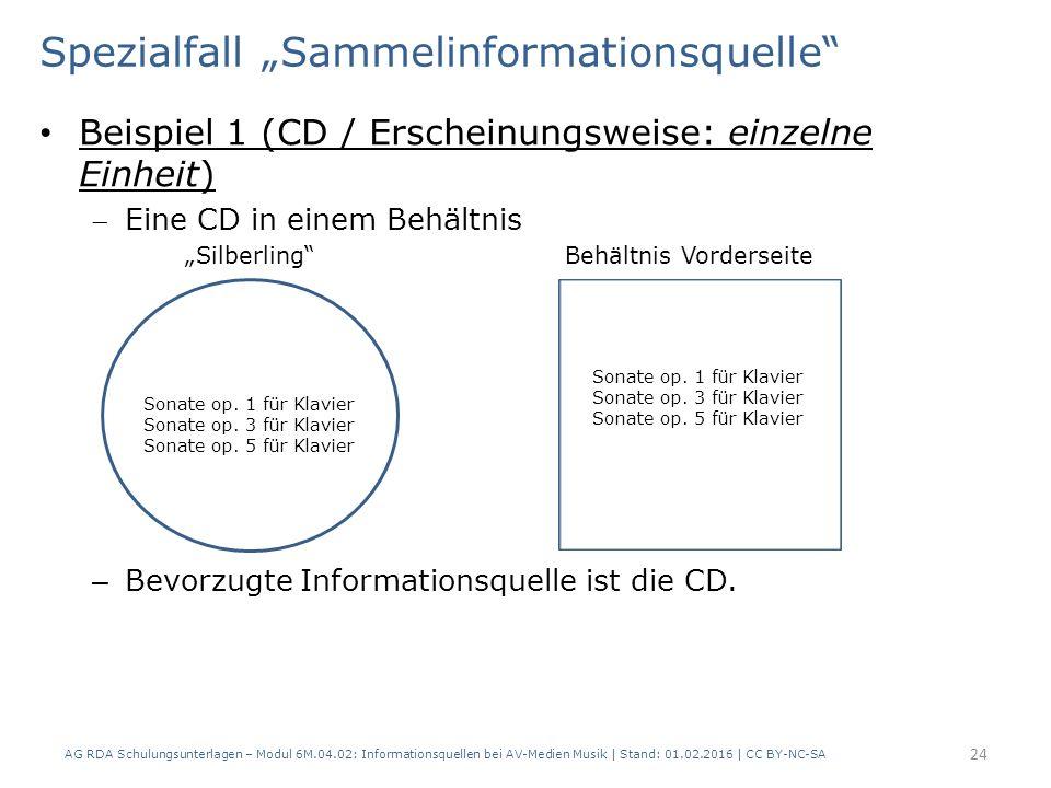 """Spezialfall """"Sammelinformationsquelle"""" Beispiel 1 (CD / Erscheinungsweise: einzelne Einheit) Eine CD in einem Behältnis """"Silberling""""Behältnis Vorders"""