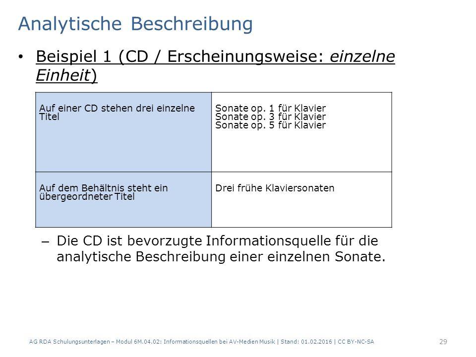 Analytische Beschreibung Beispiel 1 (CD / Erscheinungsweise: einzelne Einheit) – Die CD ist bevorzugte Informationsquelle für die analytische Beschrei