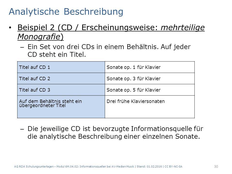 Analytische Beschreibung Beispiel 2 (CD / Erscheinungsweise: mehrteilige Monografie) – Ein Set von drei CDs in einem Behältnis. Auf jeder CD steht ein